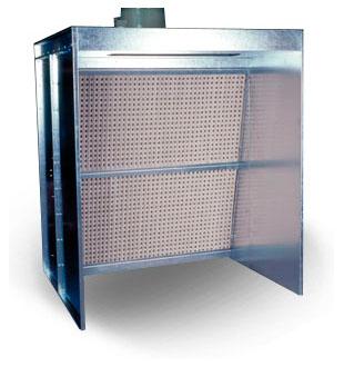 Cabine de pistolage à filtration sèche